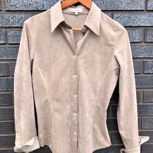 Genuine suede, fitted blouse